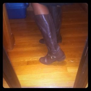 Brown leather upper Me Too tall boots